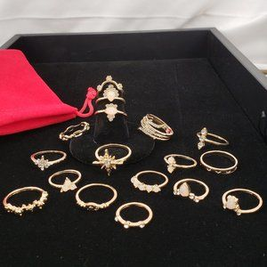 Boho Set of 17 Gold tone Rings
